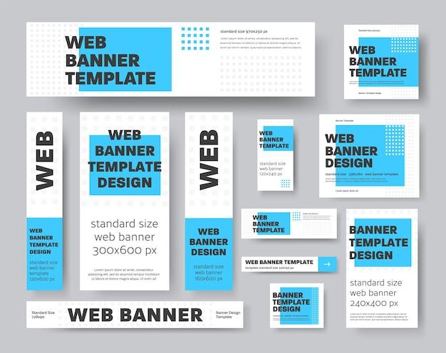 Set van vector geometrische webbanners met blauwe rechthoek en grijze vierkantjes. sjabloon voor reclame en sociale media. voorbeeldontwerp