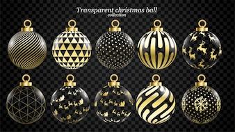 Set van vector gouden en transparante kerstballen