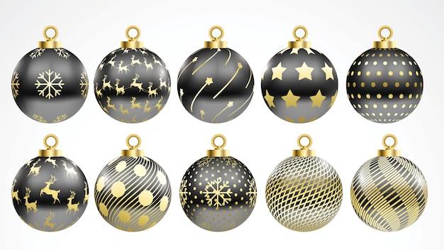 Set van vector gouden en zwarte kerstballen met ornamenten