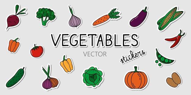 Set van vector groenten stickers verzameling van cartoon kleurrijke stickers met gezonde voeding