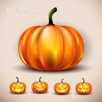 Set van vector halloween pompoenen met ogen en geheel