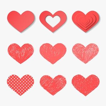 Set van vector harten.