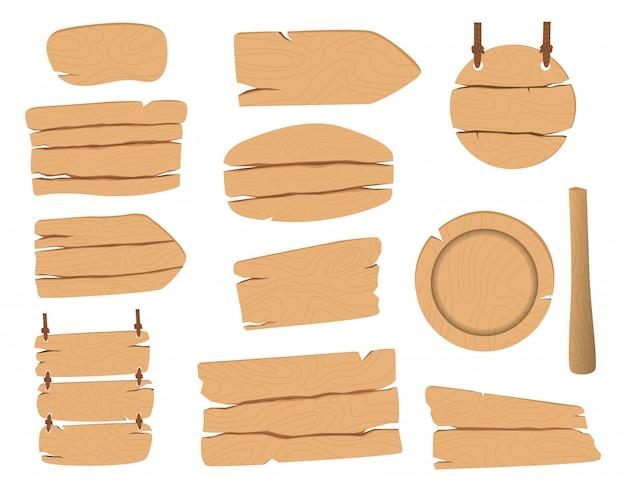 Set van vector houten borden.