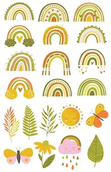 Set van vector illustraties cute regenbogen in een eenvoudige stijl groen geel oranje tinten bladeren vlinder regenbogen