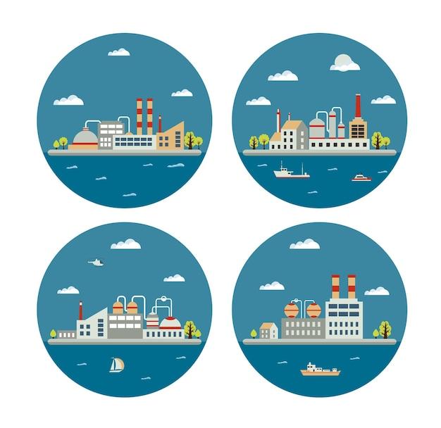 Set van vector industriële landschap van gebouwen. ketel gebouw. kracht opbouwen. magazijnen gebouw. fabrieken bouwen. het onderstationgebouw. gebouwen stedelijke industriële gebouwen.