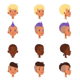 Set van vector jongens hoofd gezichten met verschillende kapsels