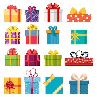 Set van vector kerst cadeau doos