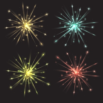 Set van vector kleurrijk helder vuurwerk voor uw creativiteit