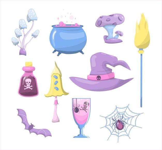 Set van vector magische paddestoelen ruimte cartoon paddestoelen set heks pictogrammen voor halloween