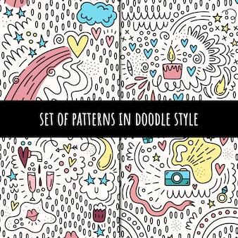 Set van vector naadloze patronen in doodle stijl