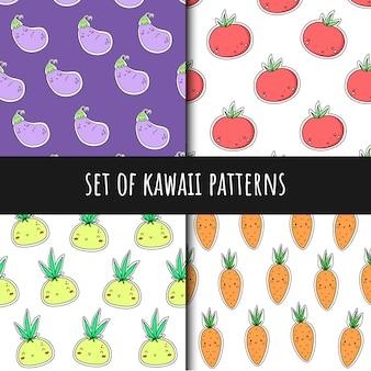 Set van vector naadloze patronen in kawaii stijl