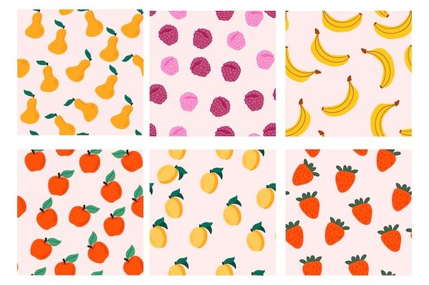 Set van vector naadloze patronen met fruit hand getrokken texturen ontwerp voor papieren omslagstof