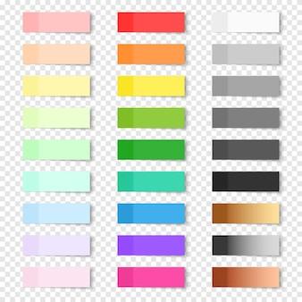 Set van vector papieren stickers op transparante achtergrond. gekleurde realistische plaknotities geïsoleerd. grote verzameling rode, oranje, gele, groene, blauwe, paarse, grijze, gouden, zilveren en bronzen postnotities