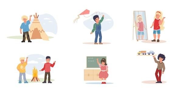 Set van vector platte jongen stripfiguren die graag verschillende activiteiten doen, spelen en samen leren - verschillende poses, sociale communicatie, vriendschapsconcept