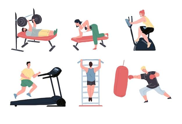 Set van vector platte stripfiguren genieten van sportactiviteiten in de fitnessruimte.