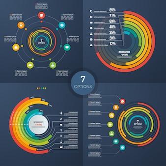 Set van vector presentatie cirkel infographic grafieken 7 opties