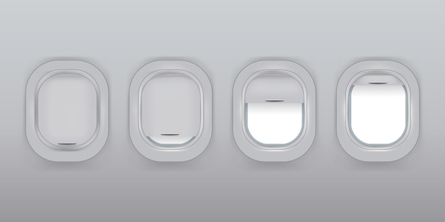 Set van vector realistische vliegtuigramen met gordijnen in verschillende posities en lege copyspace binnen