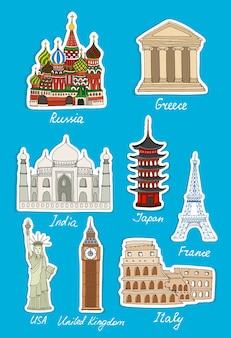 Set van vector reizen oriëntatiepunten stickers