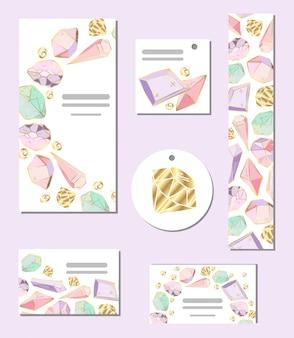 Set van vector sjablonen kaarten met kristallen en edelstenen