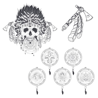 Set van vector sjablonen voor een tattoo met een menselijke schedel in een indische veerhoed, tomahawk en diverse droomvangers