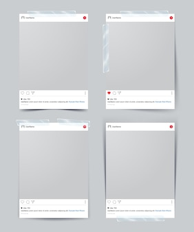 Set van vector sjabloon fotolijstjes met plakband Premium Vector