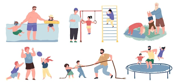 Set van vector stripfiguren vader en kinderen samen sporten, ze zwemmen in het zwembad, spelen bal, touwtrekken, gymnastiek doen, springen op trampoline-sportieve gezonde familierelaties concept, websiteontwerp
