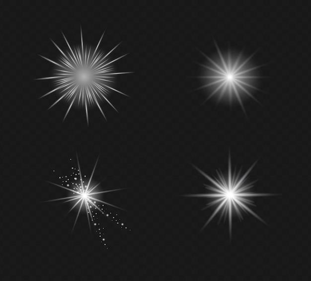 Set van vector transparant flitslichteffect, speciale lens van zonlicht.