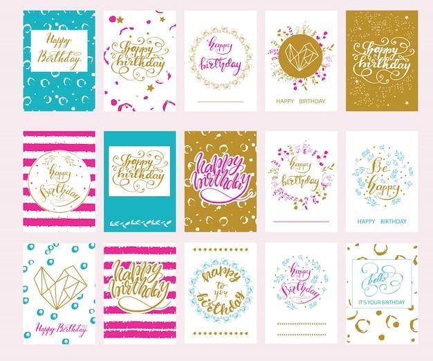 Set van vector verjaardagskaarten.