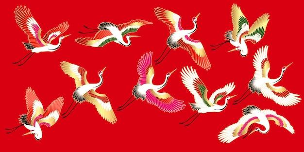 Set van vector vliegende japanse kranen