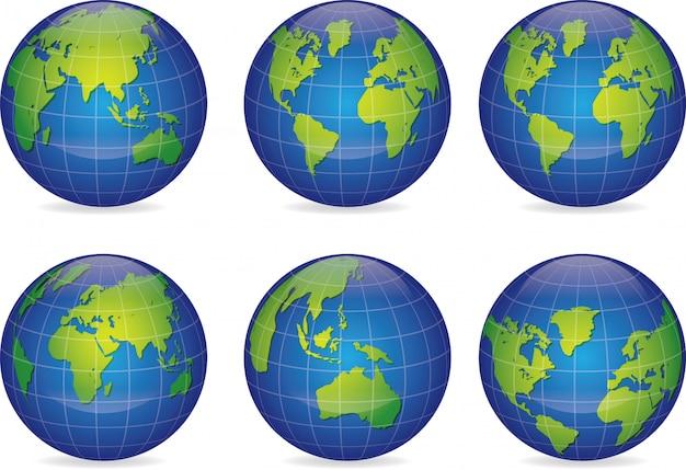 Set van vector wereldbol pictogrammen aarde met alle continenten