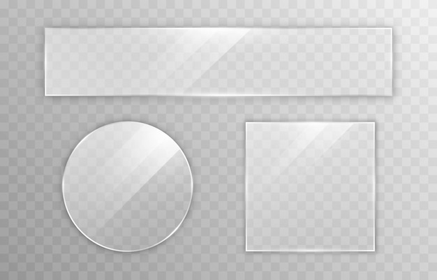 Set van vectorglas transparantie-effect raamspiegel reflectie schittering png-glas png-venster glazen frame glazen oppervlak
