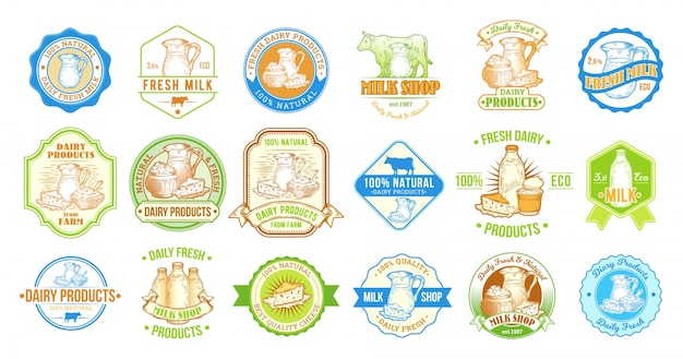 Set van vectorillustraties, badges, stickers, labels, postzegels voor melk en zuivelproducten