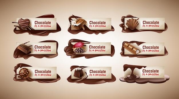 Set van vectorillustraties, banners met chocolade snoepjes, chocoladereep, cacaobonen en gesmolten chocolade