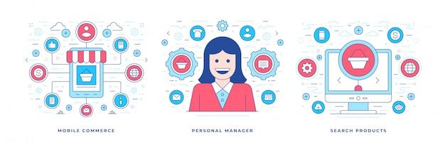 Set van vectorillustraties met pictogrammen voor online winkelen