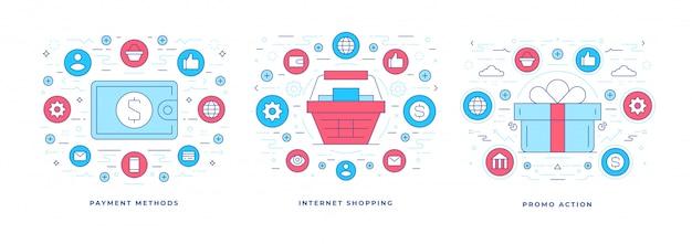 Set van vectorillustraties platte lijn ontwerpen van verschillende opties voor online winkelen met pictogrammen