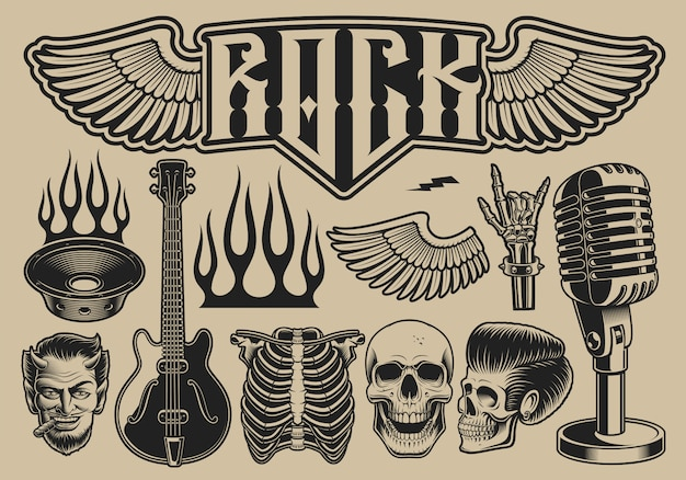Set van vectorillustraties rond het thema rock roll op een lichte achtergrond