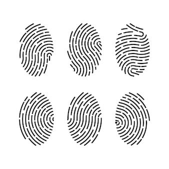 Set van vectorillustraties van beveiliging vingerafdruk authenticatie. vingeridentiteit, technologie biometrische illustratie. vingerafdruk sjabloon collectie.