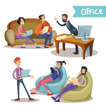 Set van vectorillustraties van het hoofd met ondergeschikten, kantoorwerkers, partners