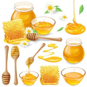 Set van vectorillustraties van honing in honingraatjes, in een potje, druipt van honingduiker