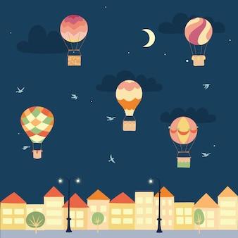 Set van vectorillustraties van overzicht hete luchtballon op sky