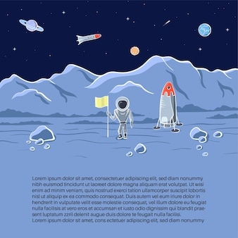 Set van vectorillustraties van ruimteschip, raket, rover. doodle cartoon vector iconen.