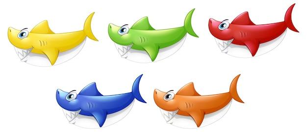 Set van veel lachende schattige haai stripfiguur geïsoleerd op een witte achtergrond
