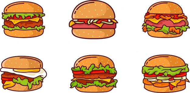 Set van veel soorten hamburger met veel ingrediënten