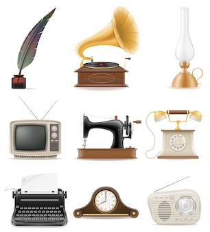 Set van veel voorwerpen retro oude vintage elementen voorraad vectorillustratie