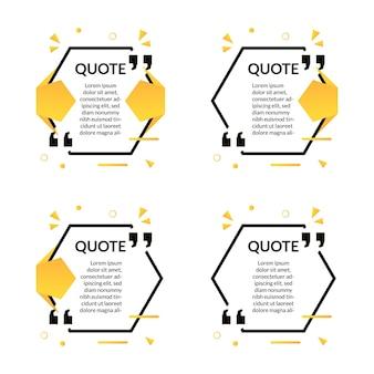 Set van veelhoek citaten frame sjabloontekst met memphis geometrische stijl