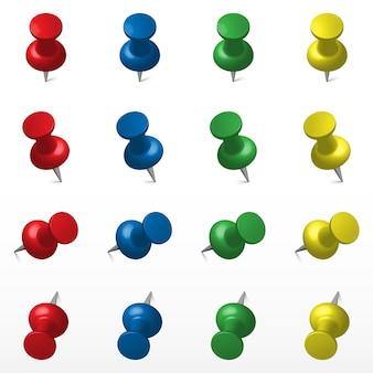 Set van veelkleurige push office pin