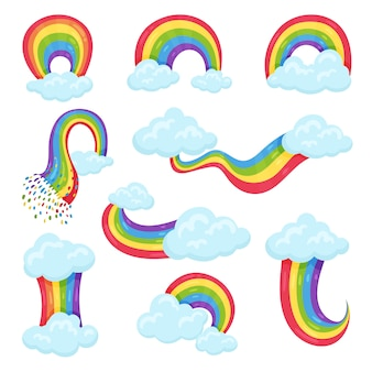 Set van veelkleurige regenbogen met blauwe pluizige wolken. decoratieve muurstickers voor kinderkamer