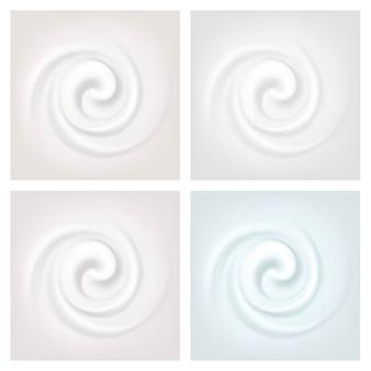 Set van veelkleurige swirl crème textuur achtergronden