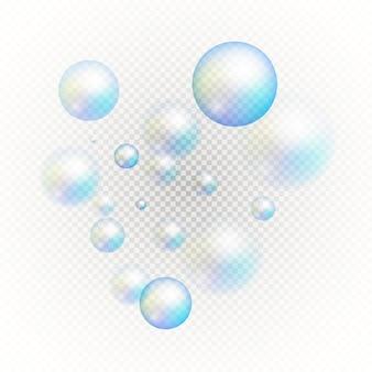 Set van veelkleurige transparante zeepbellen.