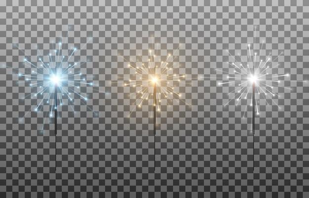 Set van veelkleurige wonderkaarsen bengaalse lichten vonken vuurwerk flits een rechtszaak brandende lichten